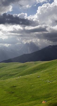 Tent in mountains. Caucasus Mountains, Georgia.