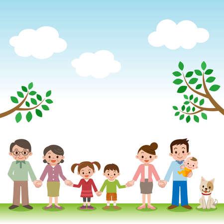 Illustration pour Holding Hands happy three generation family - image libre de droit