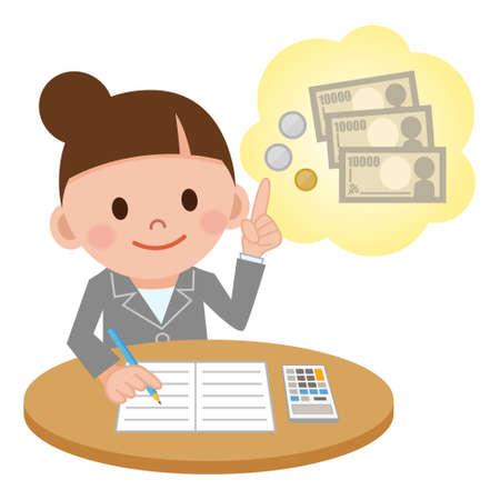Illustration pour Illustration Featuring a Female Accountant Computing - image libre de droit