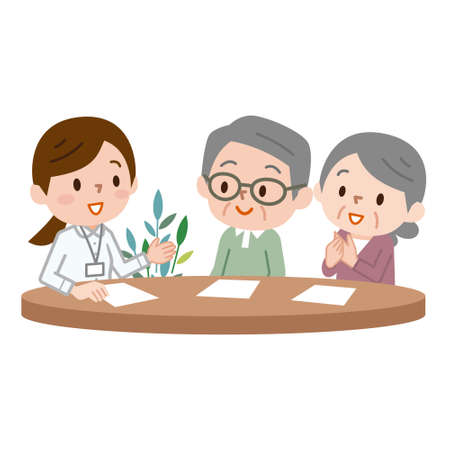 Illustration for Pretty female manager explaining insurance policy terms to senior married couple - Royalty Free Image