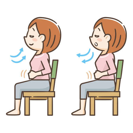 Illustration pour Young woman sitting in a chair and taking a deep breath - image libre de droit