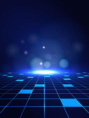 Ilustración de Vector Abstract high technology lines connect of future on dark blue background - Imagen libre de derechos