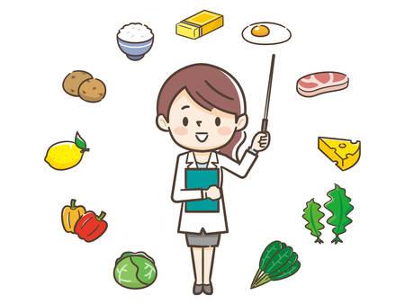 Illustration pour Young nutritionist woman and ingredients - image libre de droit