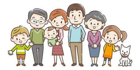 Illustration for Family portrait of three generations parents children and grandchildren on white background stock vector illustration - Royalty Free Image