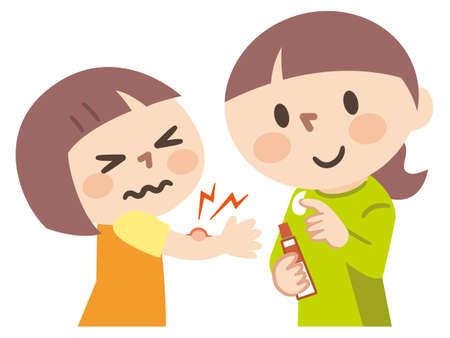 Illustration pour Mother applying antipruritic medicine to her child - image libre de droit