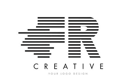 FR F R Zebra Letter Logo Design with Black and White Stripes Vector