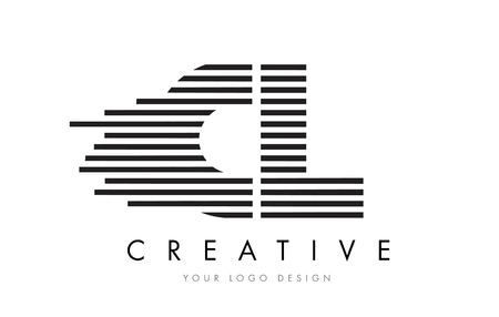 CL C L Zebra Letter Logo Design with Black and White Stripes Vector