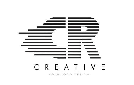 CR C R Zebra Letter Logo Design with Black and White Stripes Vector