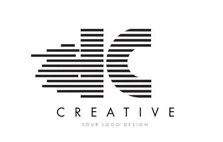 IC I C Zebra Letter Logo Design with Black and White Stripes Vector