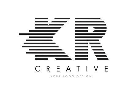 KR K R Zebra Letter Logo Design with Black and White Stripes Vector
