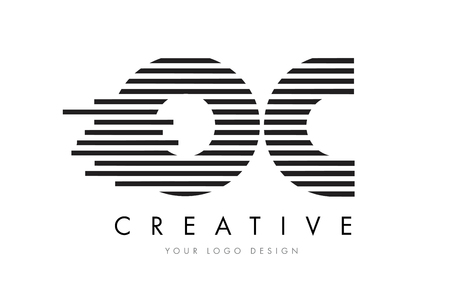 OC O C Zebra Letter Logo Design with Black and White Stripes Vector