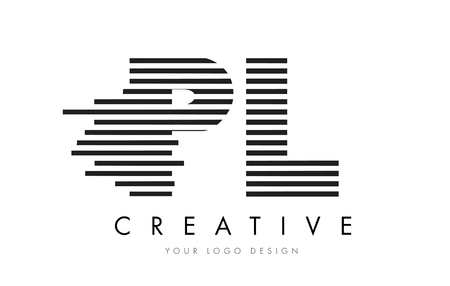 PL P L Zebra Letter Logo Design with Black and White Stripes Vector