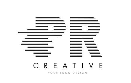PR P R Zebra Letter Logo Design with Black and White Stripes Vector