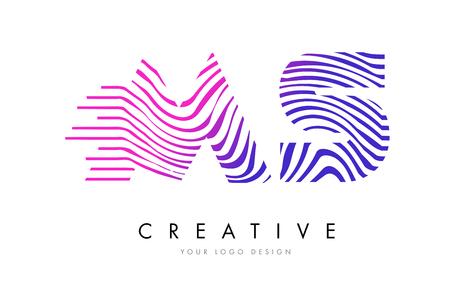 MS M S Zebra Letter Logo Design with Black and White Stripes Vector