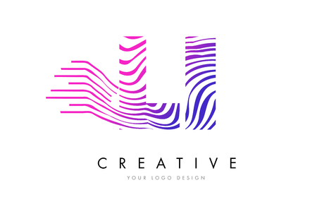 LI L I Zebra Letter Logo Design with Black and White Stripes Vector
