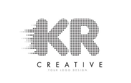 KR K R Letter Logo Design with Black Dots and Bubble Trails.
