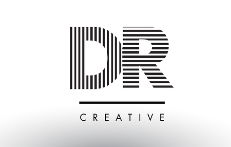 DR D R Black and White Letter Logo Design with Vertical and Horizontal Lines.