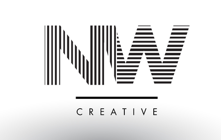NW N W Black and White Letter Logo Design with Vertical and Horizontal Lines.