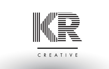 KR K R Black and White Letter Logo Design with Vertical and Horizontal Lines.
