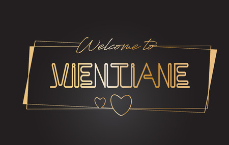 Illustration for Vientiane Welcome to Golden text Neon Lettering Typography with Wired Golden Frames and Hearts Design Vector Illustration. - Royalty Free Image