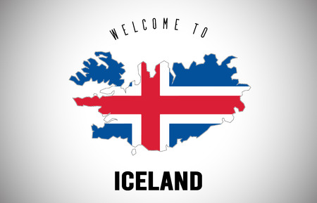 Illustration pour Iceland Welcome to Text and Country flag inside Country Border Map. Uruguay map with national flag Vector Design Illustration. - image libre de droit
