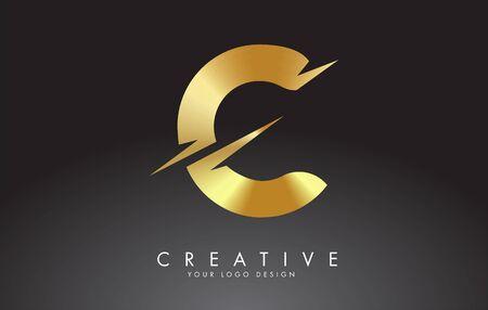 Illustration pour Golden C letter logo design with creative cuts. Creative vector illustration. - image libre de droit