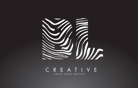 BL B L Letters Logo Design with Fingerprint, black and white wood or Zebra texture on a Black Background. Creative BL B L vector illustration with black and white lines.