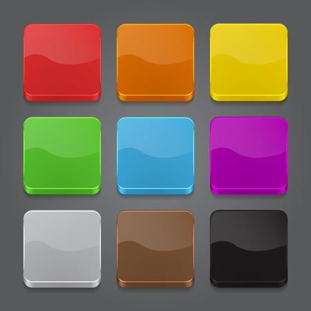 Illustration pour App icons background set. Glossy web button icons. Vector illustration - image libre de droit