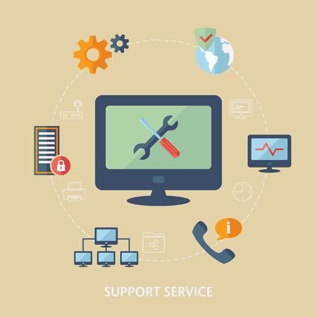 Illustration pour Computer support icons.  - image libre de droit