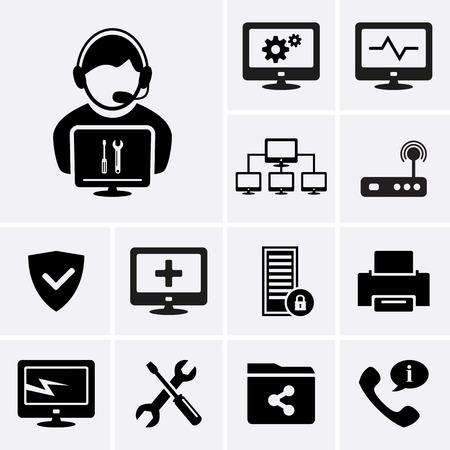 Illustration pour Computer technician icons.  - image libre de droit