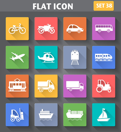 Vector application Transport Icons set in flat style with long shadows.