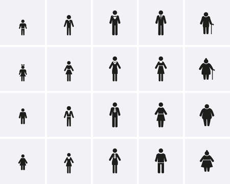 Illustration for Family Icons. Lifecycle from birth to old age, Vector icon set. - Royalty Free Image