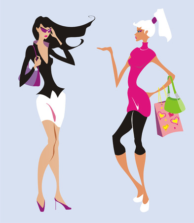 Illustration for Two beautiful fashion women go shopping - Royalty Free Image