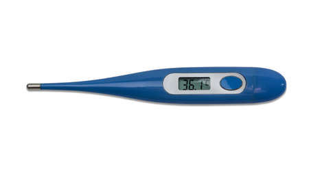 Electronic medical thermometer with LCD in the body of blue color on a light background. Isolation.
