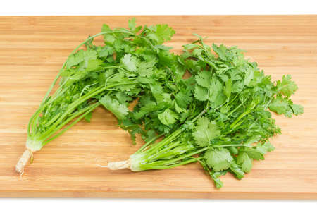 Two young plant of coriander with stalks, leaves and roots on the bamboo cutting board