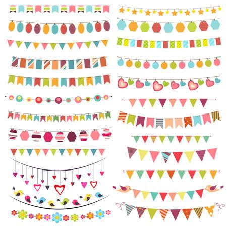 Illustration pour Colorful bunting and garlands - image libre de droit