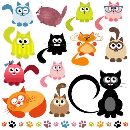 Illustration pour set of cats - image libre de droit