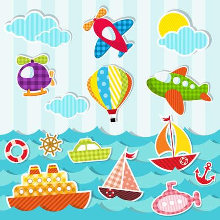 Ilustración de set of sea and air transport - Imagen libre de derechos