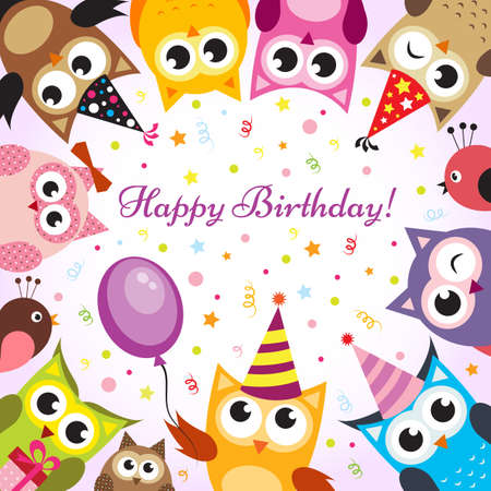 Illustration for Birthday card with owls - Royalty Free Image