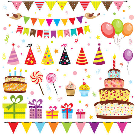 Illustration pour Set of birthday party elements - image libre de droit