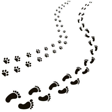Ilustración de Animal and human footprints illustration. - Imagen libre de derechos