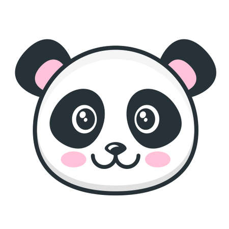 Ilustración de Cute panda face isolated on white - Imagen libre de derechos