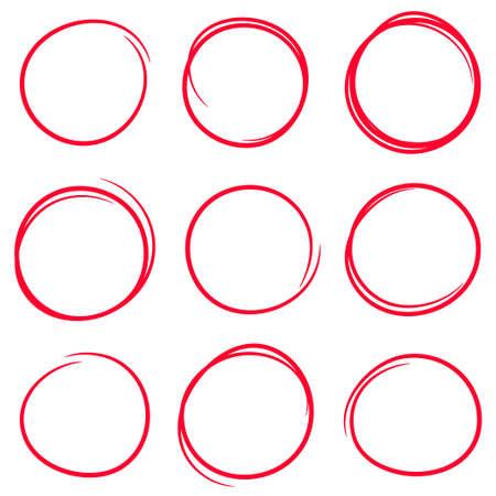 Illustration pour Set of red hand drawn scribble circles - image libre de droit