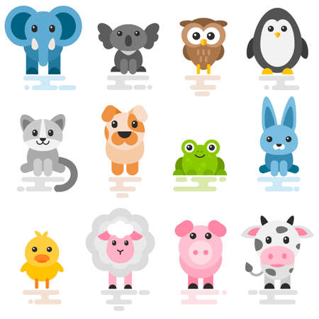 Photo pour Set of cute cartoon animals. Flat style icons - image libre de droit