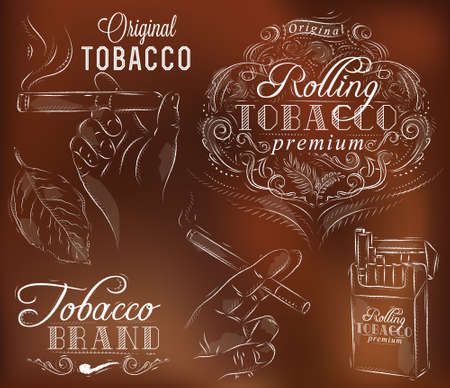 Set collection on tobacco and smoking a pack of cigarettes vintage tobacco leaves hands with a cigarette on a brown background