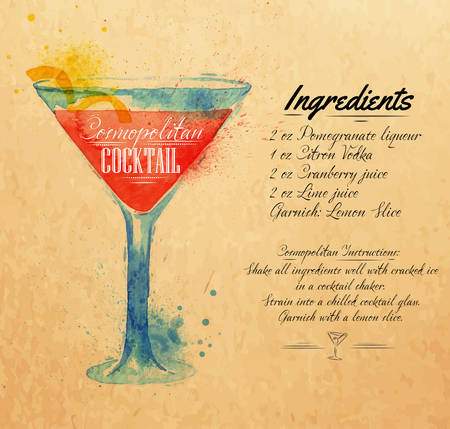 Cosmopolitan cocktails drawn watercolor blots and stains with a spray, including recipes and ingredients on the background of kraft