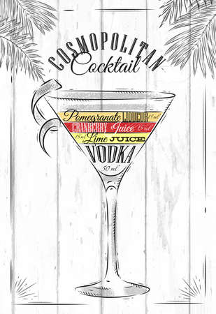 Cosmopolitan cocktail in vintage style stylized painted on wooden boards