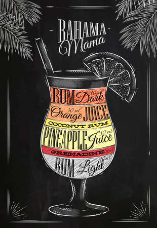 Banama mama cocktail in vintage style stylized drawing with chalk on blackboard