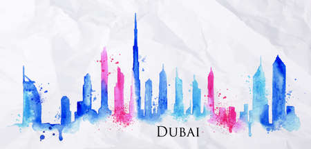 Foto de Silhouette of Dubai city painted with splashes of watercolor drops streaks landmarks in blue with pink - Imagen libre de derechos