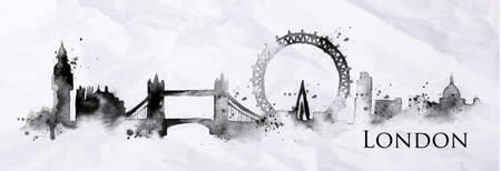 Illustration pour Silhouette London city painted with splashes of ink drops streaks landmarks drawing in black ink on crumpled paper - image libre de droit